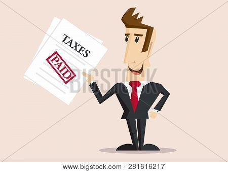 Happy Businessman Holds Tax Form With Paid Stamp