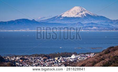 Mount Fuji As Seen From Across Sagami Bay Near Hayama, Japan.
