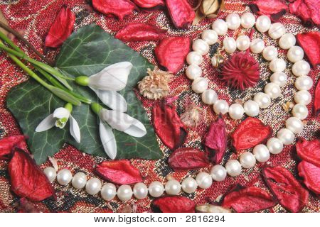 Still Life With Pearls And Flowers