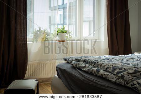 Bedroom Interior. Bright Bedroom Interior With Wide Bed. Interior Apartment, Loft Furnished, Bedroom