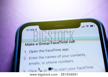 Paris, France - Jan 30, 2018: Apple Iphone Xs With Facetime App Icon On The Display Make A Group Fac