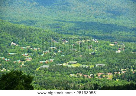 Townhouses In Mount Washington In Summer, From Summit Of Mount Rosebrook, Bretton Woods, New Hampshi