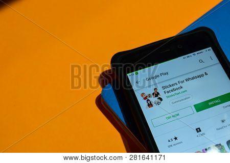 Bekasi, West Java, Indonesia. February 1, 2019 : Stickers For Whatsapp & Facebook Dev App On Smartph