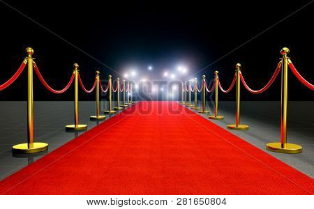 paparazzi flash at red carpet 3d rendering image