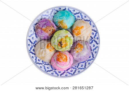 Colorful Chinese Pastry Moon Cake On Thai Style Plate .