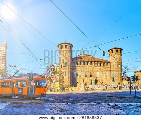 Turin, Italy - December 31, 2018. Castello Degli Acaja Castle In The Piazza Castello Square. Turin,