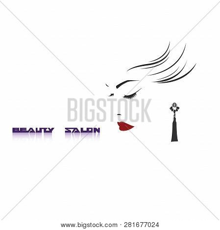Vector Illustration, Depicting The Face Of A Beautiful Woman With Long Ringlets