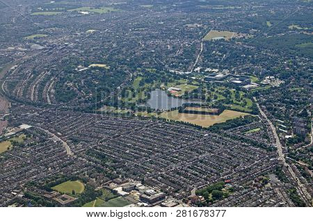 Aerial View Of The South London District Of Wimbledon.  In The Centre Of The Image Is The Lake Of Wi