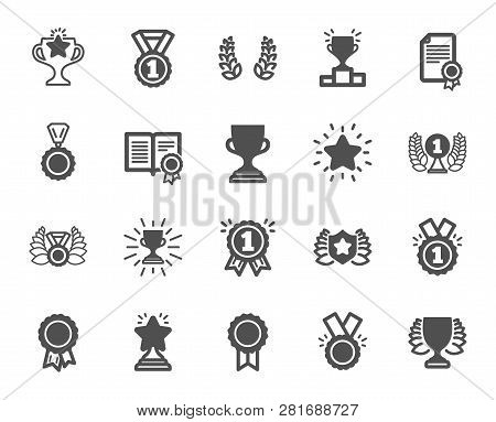 Award Icons. Set Of Winner Medal, Victory Cup And Laurel Wreath Award Icons. Reward, Certificate And