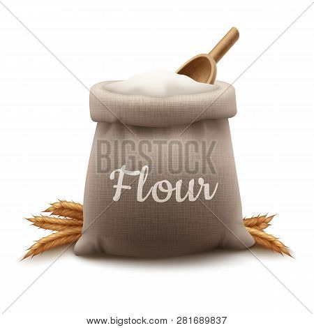 Vector Illustration Burlap Bag Of Flour With Shovel And Ears Of Wheat Isolated On Background