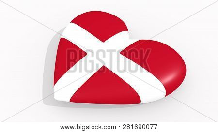 Heart In Colors And Symbols Of Sovereign Military Order Malta On White Background, Loop 3d Rendering