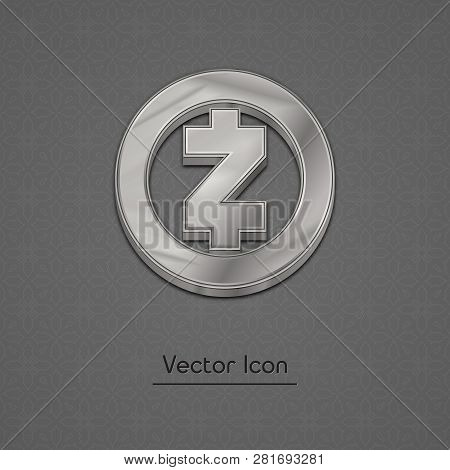 Silver Zcash Coin Symbol Isolated Web Vector Icon. Zcash Coin Trendy 3d Style Vector Icon. Raised Sy