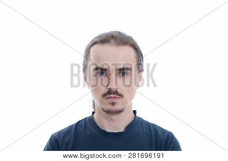 Man Face With Beard And Moustache. Isolated On White Background Man Portrait. Young Character