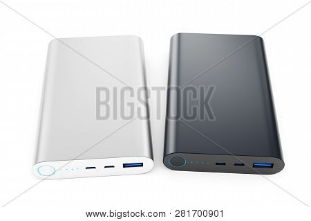 Two Power Banks Isolated On White Background