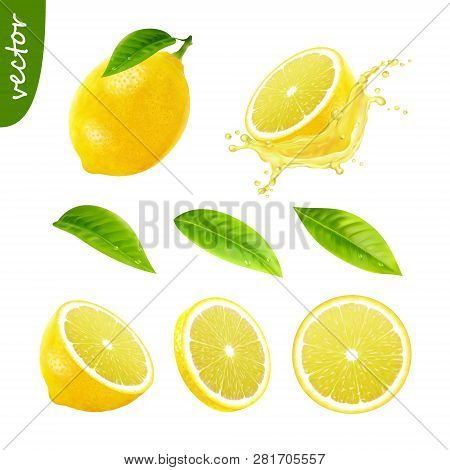 3d Realistic Vector Set Of Elements (whole Lemon With Leaf , Sliced Lemon, Splash Lemon Juice, Leave
