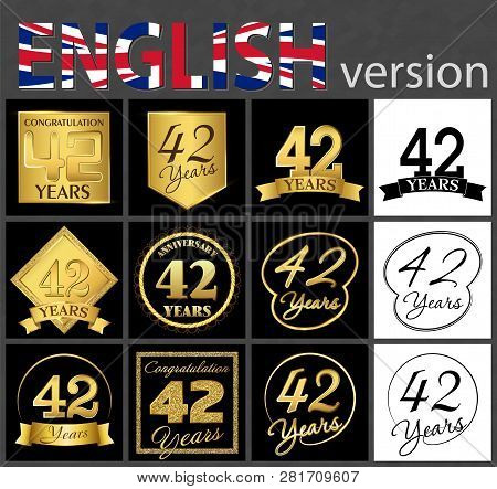 Set Of Number 42 Years (forty-two Years) Celebration. Anniversary Golden Number Template Elements Fo