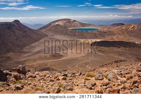 Blue Lake In Rocky Landscape Of Tongariro Np, New Zealand