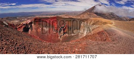 Panoramatic View Of Unique Volcanic Landscape Of Tongariro Np In New Zealand