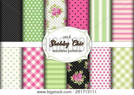 Set Of 12 Cute Seamless Shabby Chic Patterns With Roses, Polka Dots. Stripes And Plaid