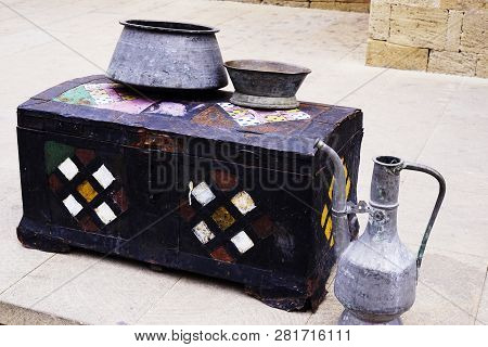 Treasure Chest. Ancient Wooden Treasure Chest Locked On Wooden Surface Background. Old Wood Chest Cl