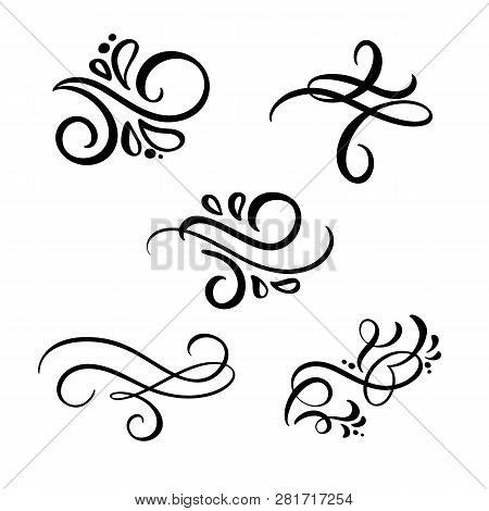 Set Of Vector Vintage Line Elegant Dividers And Separators, Swirl And Corner Decorative Ornaments. F