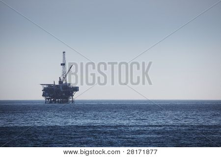 Large Pacific Ocean oil rig drilling platform