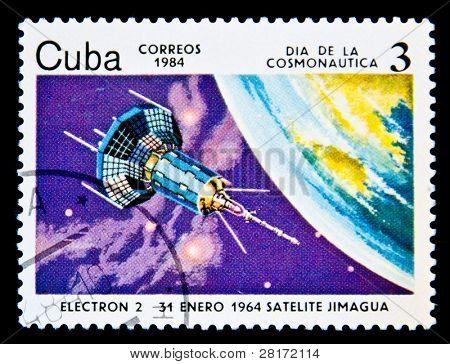 CUBA - CIRCA 1984: A stamp printed in Cuba shows Satilite Electron II, circa 1984. Space Series