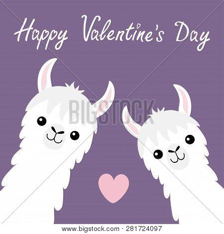 Happy Valentines Day. Llama Alpaca Animal Set. Face Neck. Pink Heart. Fluffy Hair Fur. Cute Cartoon