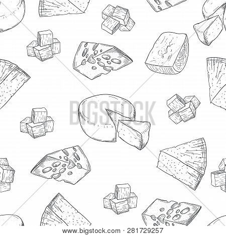 Cheese Pattern Hand Drawing On White Background. Hand Drawing Cheese Pattern Doodle Style. Fresh Dai