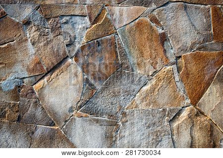 Close Up Image Of Decorative Beige Stonewall Texture