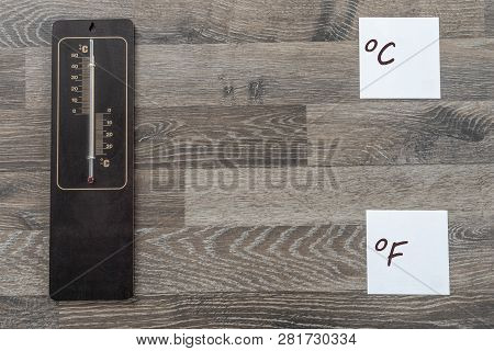 Thermometer For Measuring The Outside Temperature In Celsius And Farad