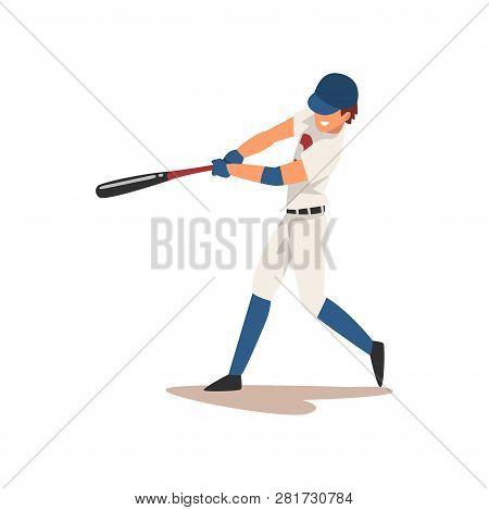 Baseball Player Swinging Bat, Softball Athlete Character In Uniform Vector Illustration