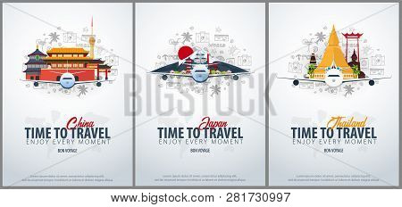 Travel To China, Japan And Thailand. Time To Travel. Banner With Airplane And Hand-draw Doodles On T