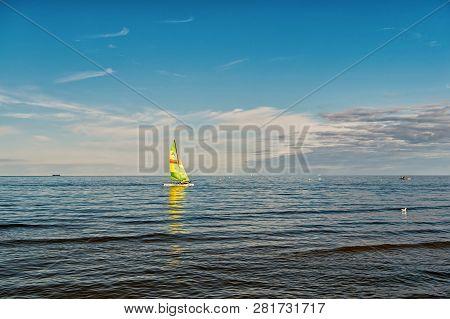 Gdansk, Poland-september 19, 2016 : Sailing Boat In Sea Of Gdansk, Poland. Sailboat With Bright Sail