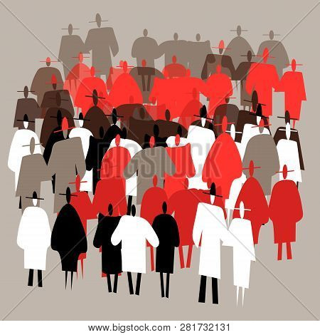 Silhouettes Crowds Of People. Large Abstract Group Of People. Stylish Vector Illustration. Concept F