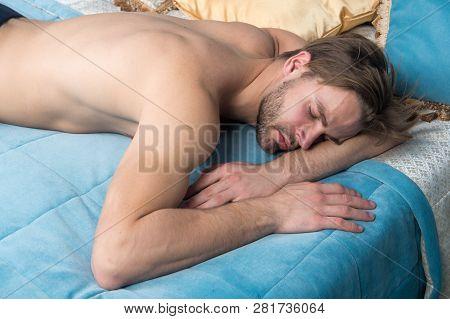 Lost In A Deep Sleep. Handsome Man Having Sleep Bedroom. Sleeping Man In Morning. He Needs More Slee