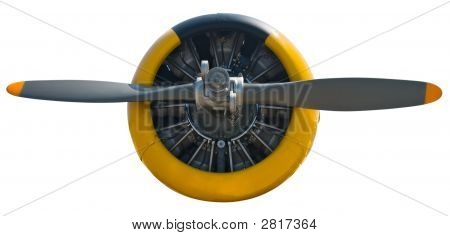 Radial Engine & Prop Isolated On White