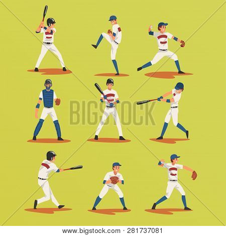 Baseball Players In Different Poses Set, Softball Male Athletes Characters In Uniform Vector Illustr