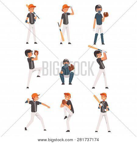 Baseball Players Set, Softball Athletes Characters In Uniform, Team Game Sports Vector Illustration