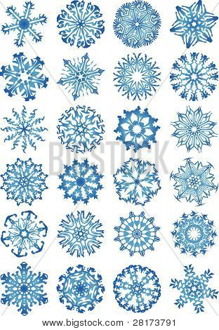 24 beautiful cold crystal gradient snowflakes. Vector illustration. Fully editable, easy color change.