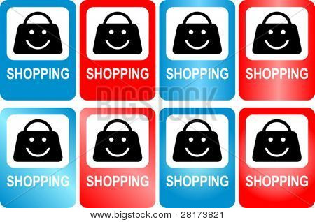 "Vector illustration of roadway marker, shop sign ""shopping"". Fully editable, easy color change."