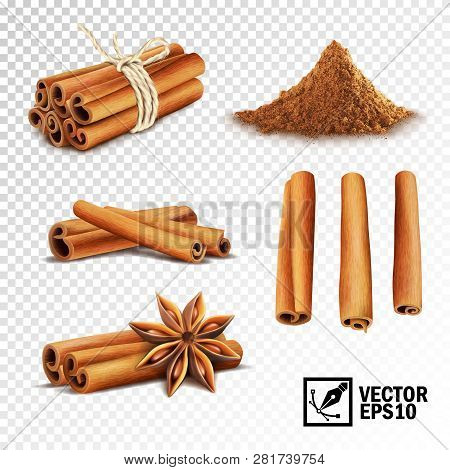3d Realistic Vector Set Of Cinnamon ( Cinnamon Sticks Tied With A Rope, Anise Stars And A Pile Of Ci