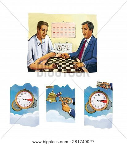 Time is money. Two men play checkers with coins. Clock. Interval mutual fund. poster
