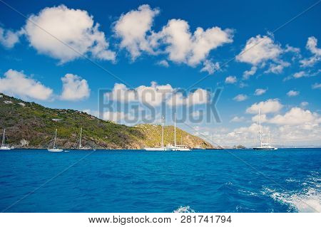 Sailboats Sail In Sea On Cloudy Blue Sky In Gustavia, St.barts. Sailing And Yachting Adventure. Summ