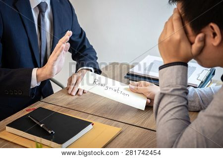 Businessman sending a resignation letter to employer boss in order to dismiss contract, changing and resigning from work concept. poster