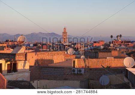Aerial Panorama Of Marrakesh At Sunrise. Marrakesh, Marrakesh-safi, Morocco.