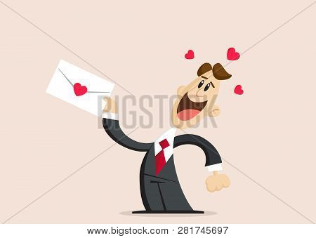 Love And Valentines Day. Happy Man In Love Holds Love Letter With Heart