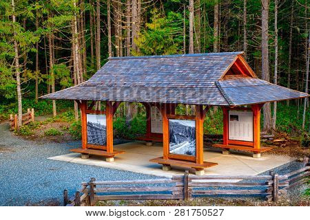 COWICHAN VALLEY - FEB 13, 2018: Information booth at the historic Kinsol Trestle park, one of the largest wooden trestles in the world built in 1911 in Vancouver Island, British Columbia, Canada.