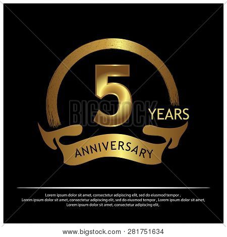 Five Years Anniversary Golden. Anniversary Template Design For Web, Game ,creative Poster, Booklet,