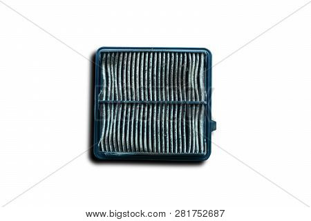 The Old Engine Air Filter On White Background Isolated